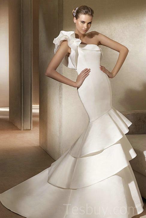 Elegant Unique Wedding Dresses One 20shoulder 20unique 20mermaid 20special 20shape 20satin 20wedding