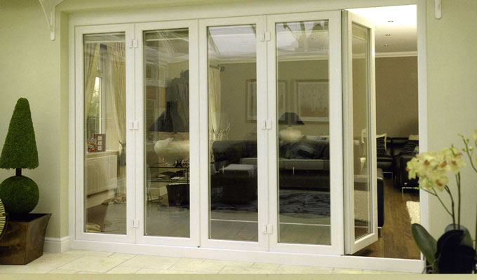 Bifold doors external with modern concept seeur for Folding patio doors lowes