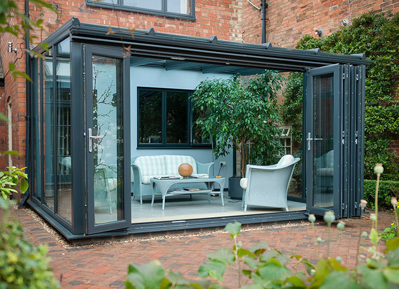 Bifold doors external with modern concept seeur for Conservatory doors exterior