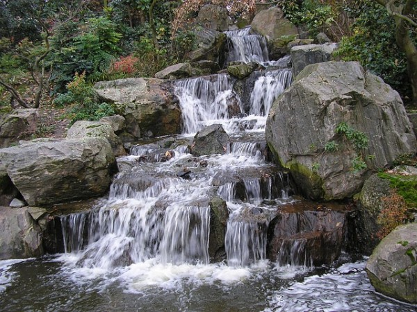 create waterfall garden with rock photos ideas