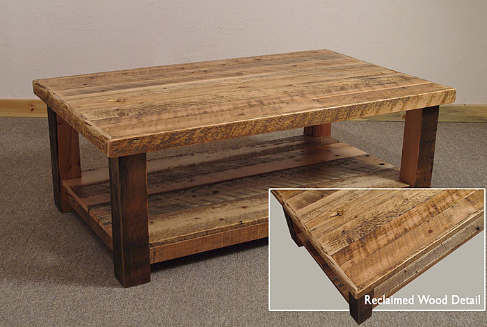 Wooden coffee table with wonderful design seeur for Reclaimed wood table designs