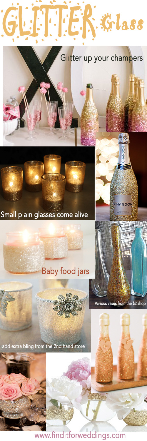 Wedding Reception Decorations Ideas Diy : Glitter-glass-wedding-decorations-DIY-wedding-ideas