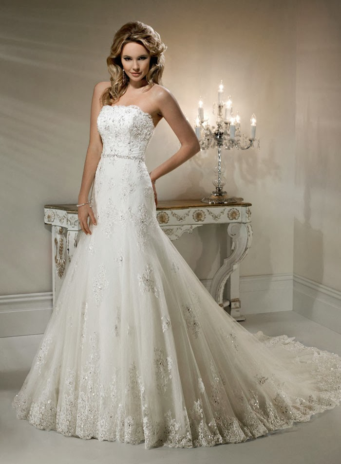 Wedding Dresses Lace Strapless : Strapless bridal gown seeur