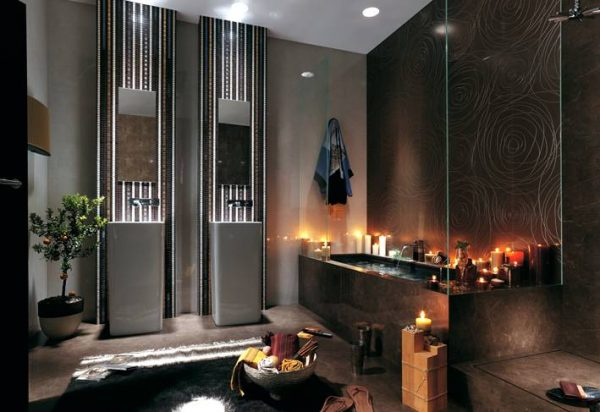 Black rose bathroom tile design