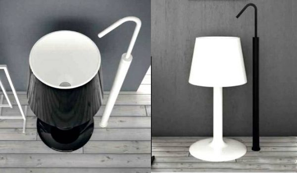 Black white lamp basin