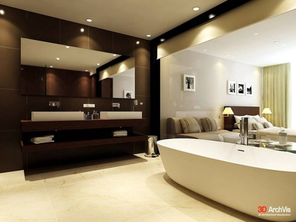 Brown cream white bathroom twin basins