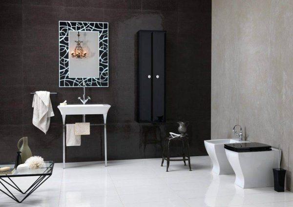 BrunaRapisarda Art deco elements monochrome bathroom
