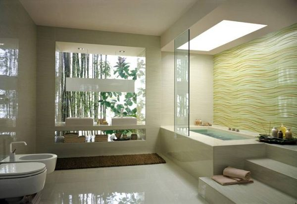 Cream wave bathroom tile stepped bathtub