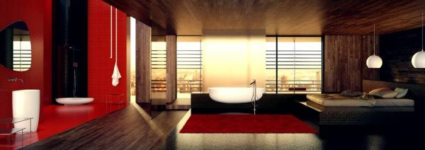 Danelon Meroni Red white and black oriental inspired bathroom panorama