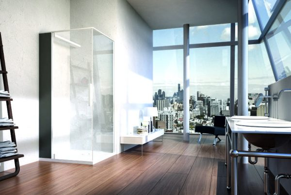 DanelonMeroni huge bathroom with urban views and industrial sinks