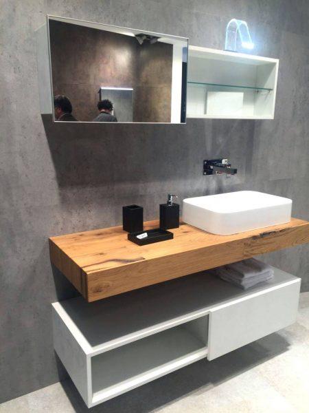 Floating reclaimed wood counter bathroom vanity