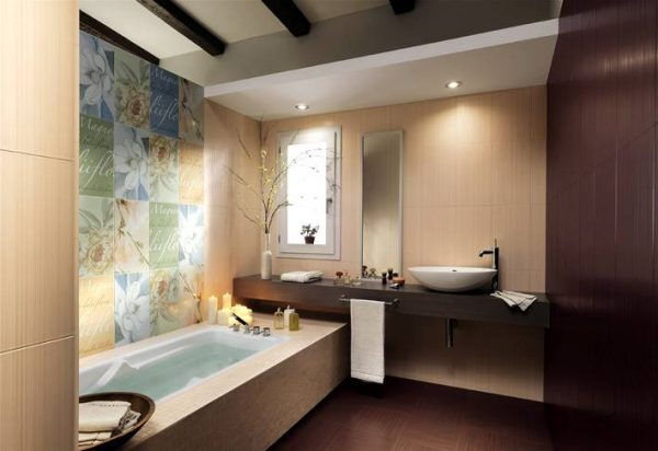 Floral bathroom tiles floating vanity unit