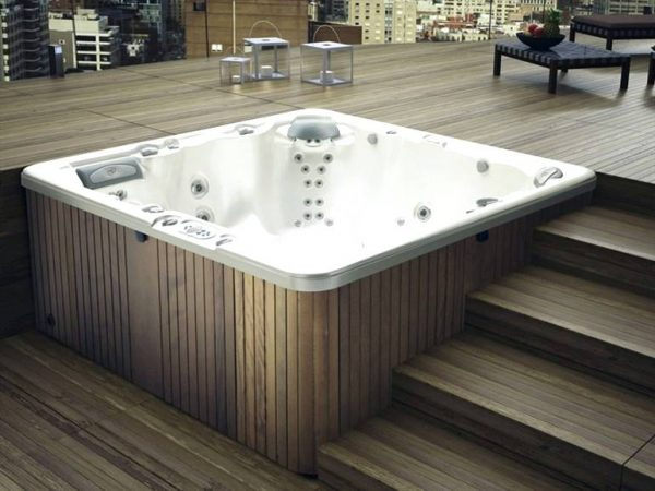 Glass 6 seater hydromassage mini pool spa
