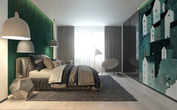 Gray and green kids bedroom