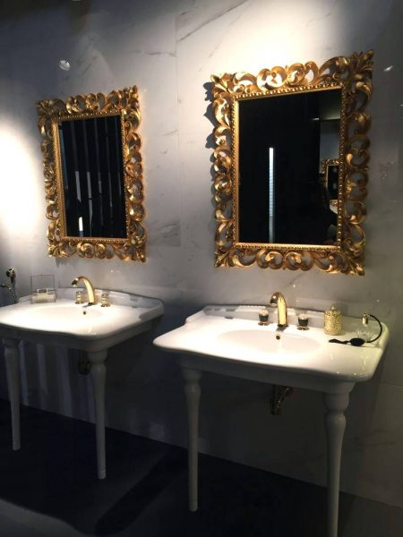 Luxury bathroom mirror frames in gold