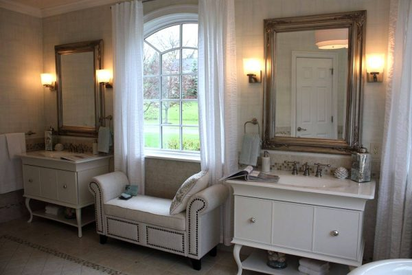 Master bathroom window seating