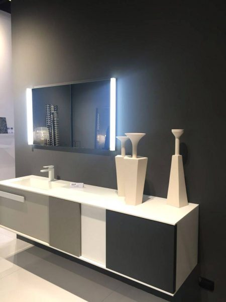 Mirror with lights and bathroom vanity with different fronts