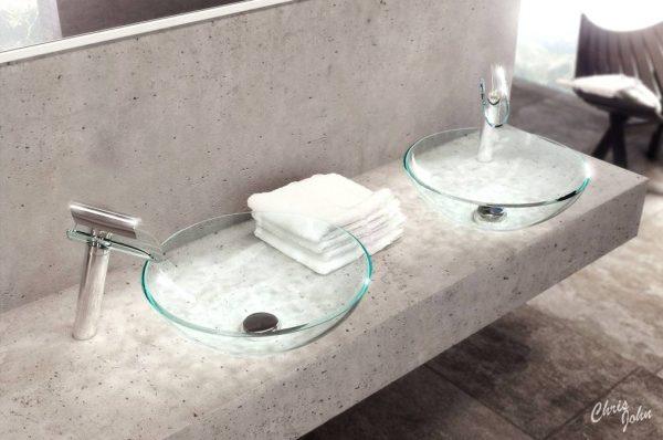 Modern bath stone vanity
