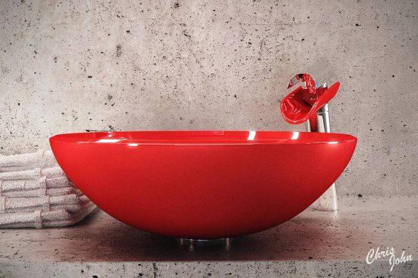 Modern bath with red vessel sink