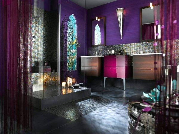Moroccan style purple bathroom