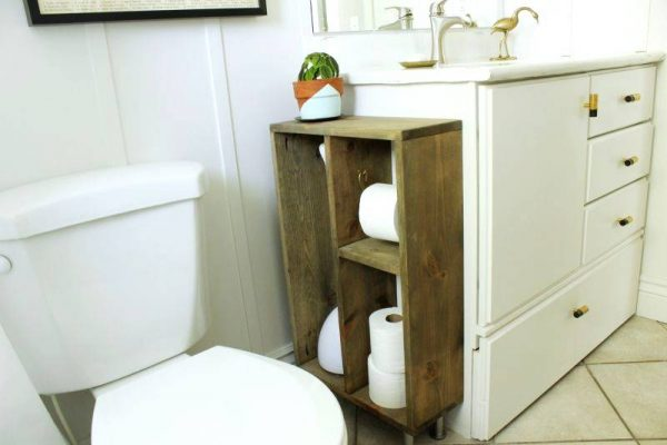 Toilet paper storage closet to vanity