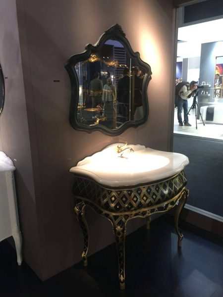 Victorian bathroom vanity in black and gold