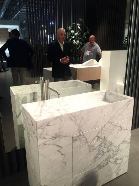 White full marble bathroom vanity with gray vines