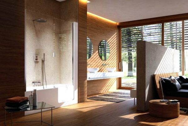 Wood wall bathroom