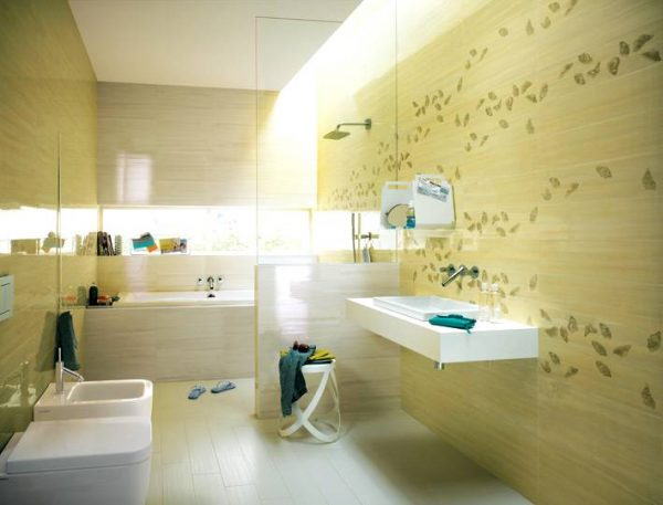 Yellow cream white bathroom tiles