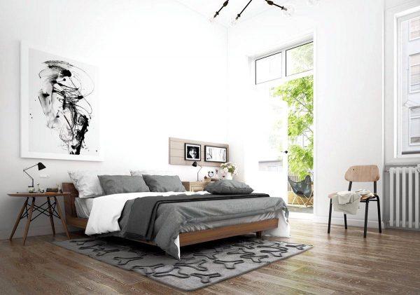 artistic minimalist scandinavian bedroom