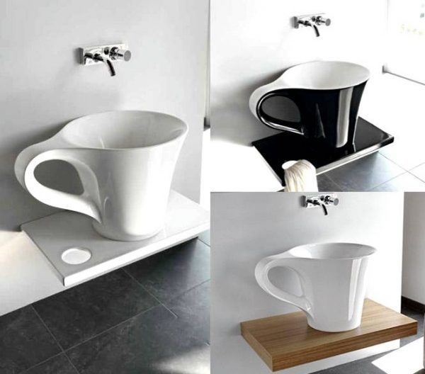 Cup basin on shelf