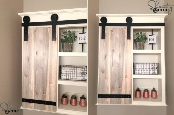 Bathroom shelves with barn door