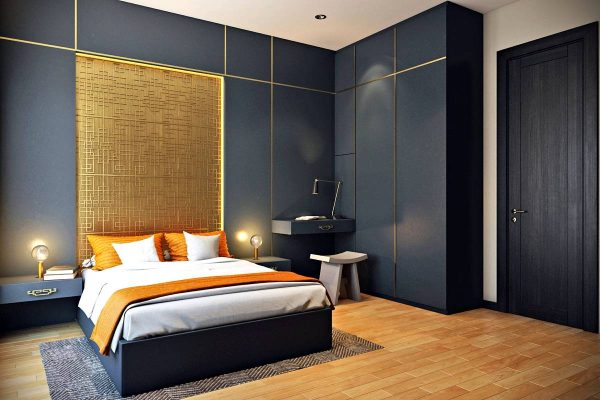 bedroom golden feature wall