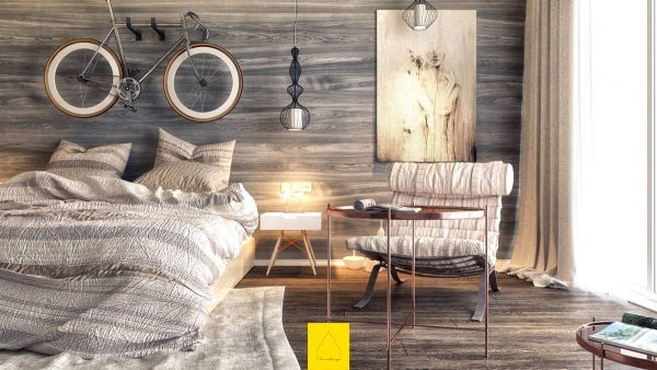 bedroom with sophisticated textures