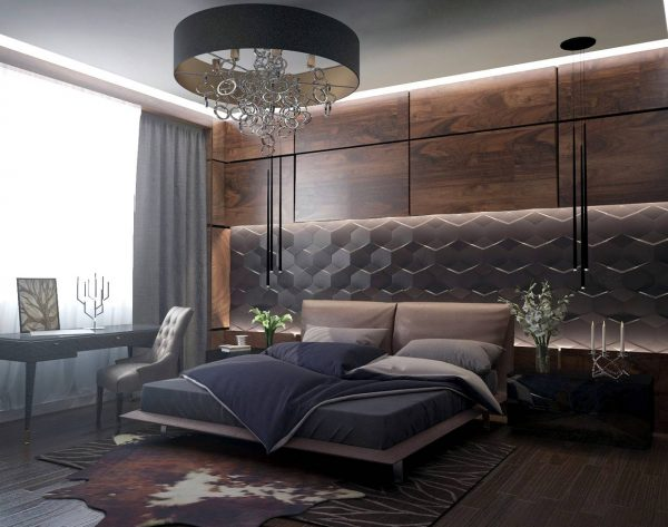 bedroom walnut wall texture