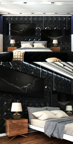 black texture bedroom wall