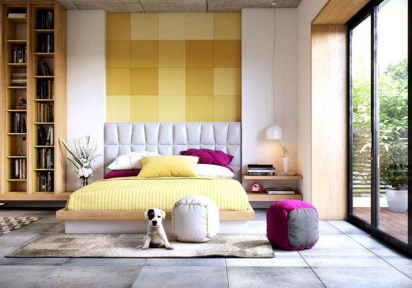 yellow themed bedroom