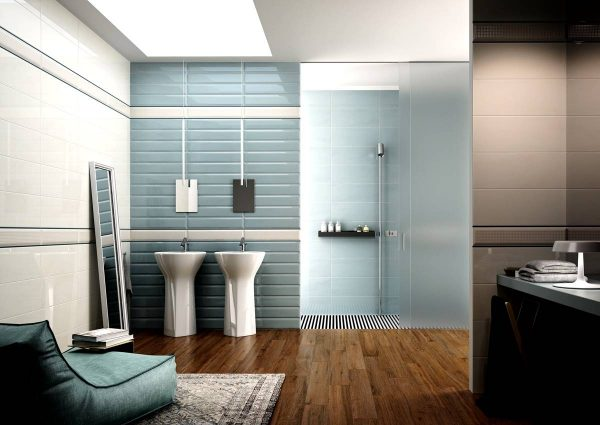 Modern bathroom in blue