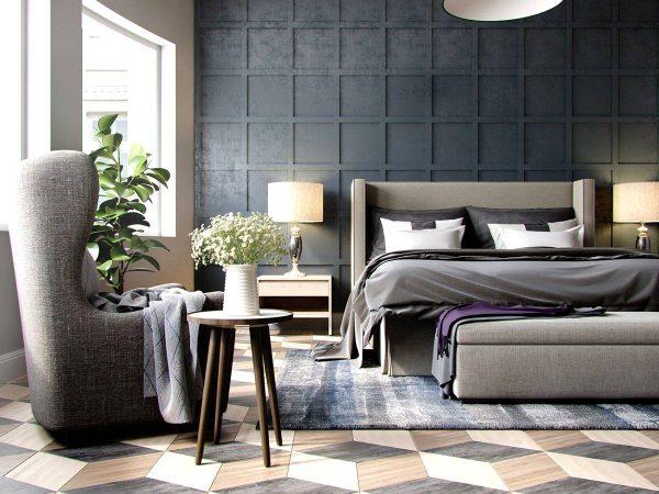 dark geometric bedroom design