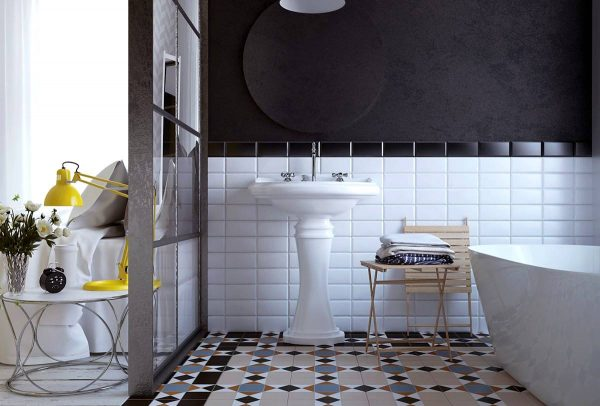 chic bathroom geometry
