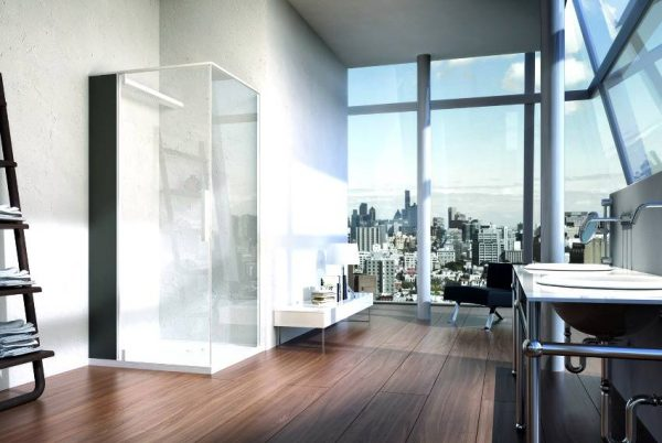 Corner shower cubicle