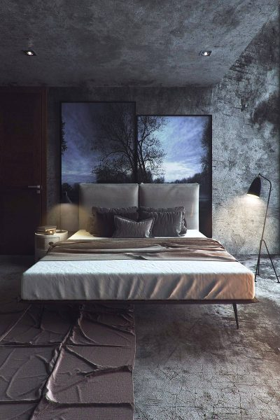 bedroom with dramatic atmosphere