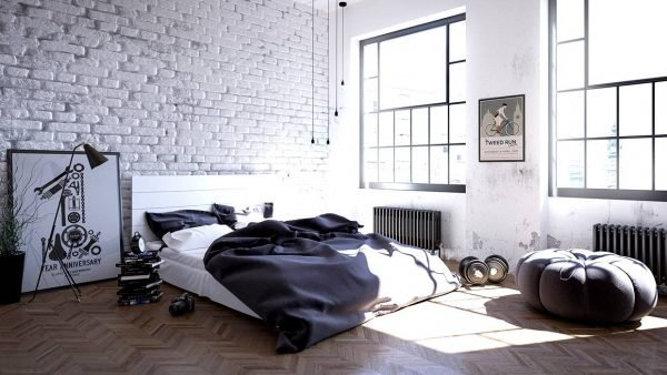 exposed brick scandinavian bedroom inspiration