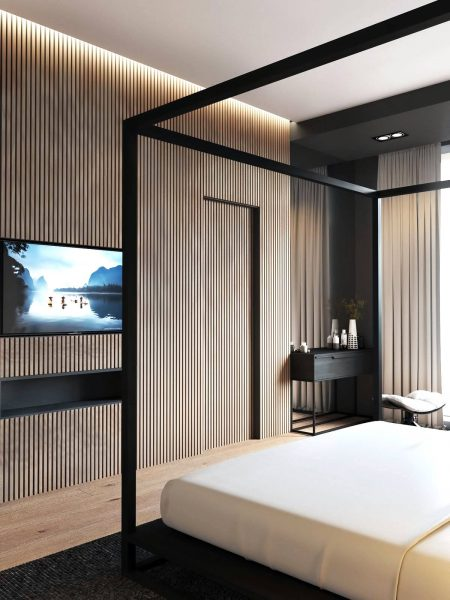 feature wall stunning master bedroom suite
