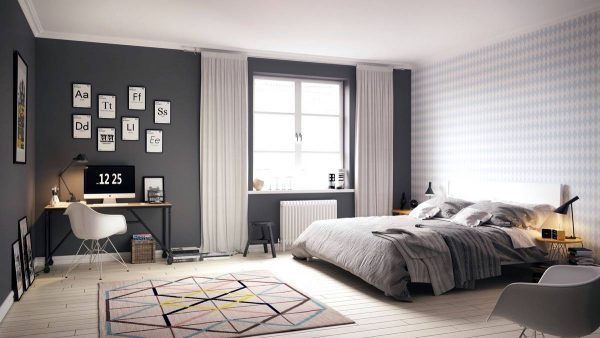geometric scandinavian bedroom design