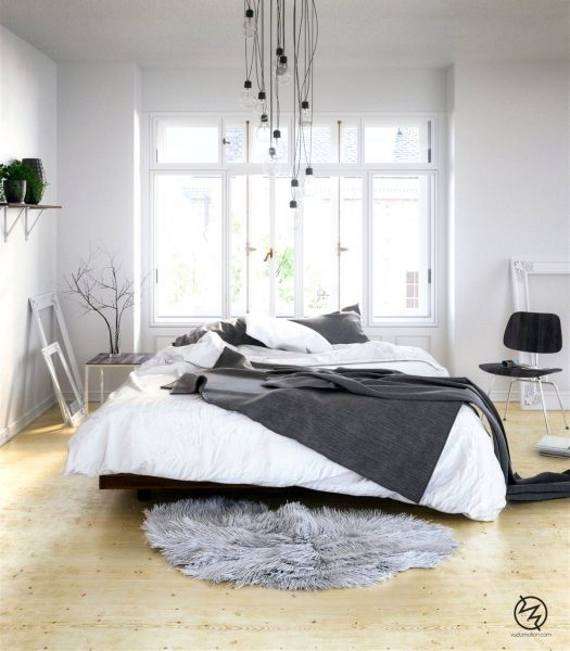 grayscale scandinavian bedroom design