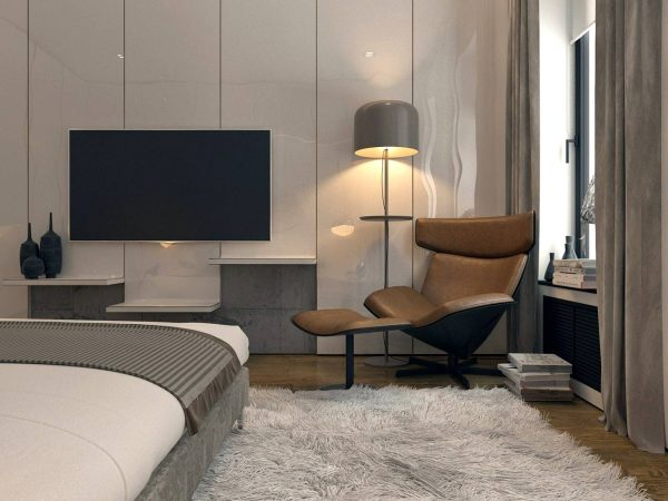 grey and leather bedroom theme