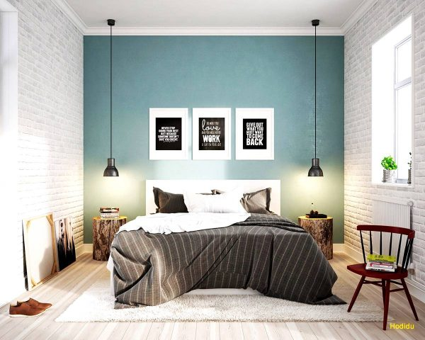 light blue scandinavian bedroom design
