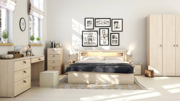 light wood scandinavian bedroom theme