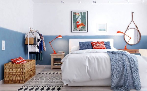 blue and orange scandinavian bedroom theme